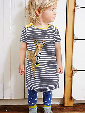 cheap Girls' Dresses-Kids Toddler Girls' Cute Street chic Striped Cartoon Print Short Sleeve Above Knee Dress Yellow
