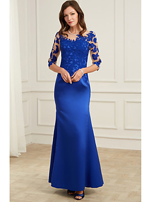 cheap Mother of the Bride Dresses-Mermaid / Trumpet Elegant Blue Wedding Guest Formal Evening Dress Illusion Neck 3/4 Length Sleeve Floor Length Polyester with Appliques 2020