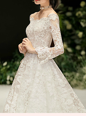 cheap Bridesmaid Dresses-Ball Gown Wedding Dresses Off Shoulder Watteau Train Lace Satin Tulle Long Sleeve Formal Plus Size with Pearls Lace Insert 2020