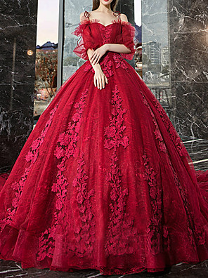cheap Bridesmaid Dresses-Ball Gown Wedding Dresses Off Shoulder Watteau Train Lace Tulle Half Sleeve Formal Romantic Glamorous Plus Size Red with Lace Lace Insert Appliques 2020