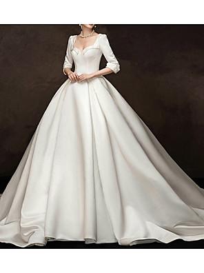 cheap Wedding Slips-Ball Gown Wedding Dresses Sweetheart Neckline Watteau Train Satin Half Sleeve Simple Vintage Elegant with Beading 2020