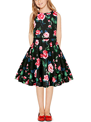 cheap Girls' Dresses-Kids Girls' Vintage Cute Floral Color Block Patchwork Print Sleeveless Above Knee Dress Black
