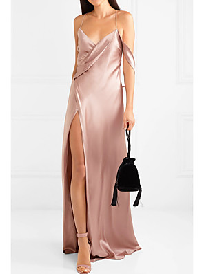 cheap Evening Dresses-Sheath / Column Sexy Party Wear Formal Evening Dress V Neck Sleeveless Floor Length Polyester with Split 2020