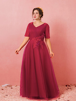 cheap Prom Dresses-A-Line Plus Size Red Engagement Formal Evening Dress V Neck Short Sleeve Floor Length Lace Satin Tulle with Bow(s) Criss Cross 2020