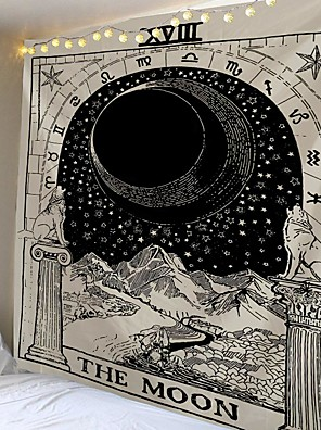 cheap Landscape Tapestries-Tarot Divination Wall Tapestry Art Decor Blanket Curtain Picnic Tablecloth Hanging Home Bedroom Living Room Dorm Decoration Mysterious Bohemian Moon Galaxy