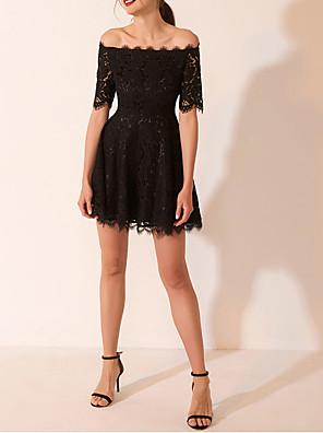 cheap Cocktail Dresses-A-Line Little Black Dress Black Homecoming Cocktail Party Dress Off Shoulder Short Sleeve Short / Mini Lace Satin with Pleats 2020