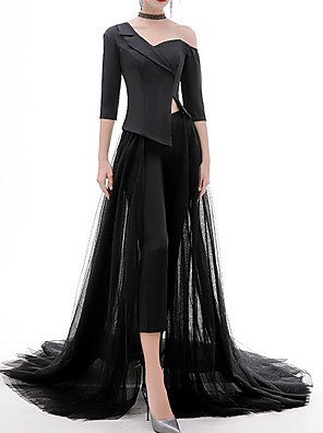 cheap Evening Dresses-Jumpsuits Sexy Black Party Wear Formal Evening Dress V Neck Half Sleeve Sweep / Brush Train Tulle Polyester with Split 2020