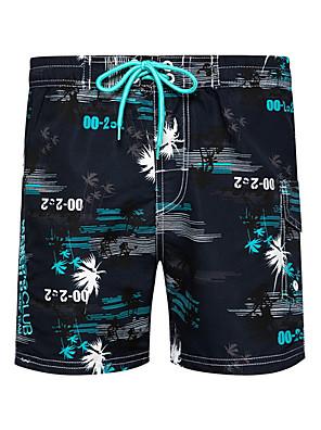 cheap Men's Exotic Underwear-Beach Board Shorts Men's Basic Orange Blue Green Swim Trunk Bottoms Swimwear Swimsuit - Floral S M L Orange