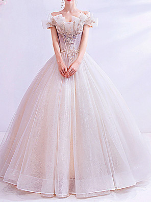 cheap Evening Dresses-Ball Gown Wedding Dresses Off Shoulder Sweep / Brush Train Chiffon Tulle Short Sleeve Country Illusion Detail Plus Size with Draping Lace Insert Appliques 2020