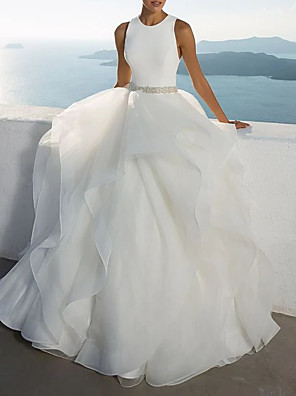 cheap Prom Dresses-Ball Gown Wedding Dresses Jewel Neck Sweep / Brush Train Polyester Sleeveless Beach Illusion Detail Plus Size with Draping 2020