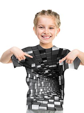 cheap Girls' Dresses-Kids Toddler Girls' Active Basic Rubik's Cube Geometric Color Block 3D Print Short Sleeve Tee Gray