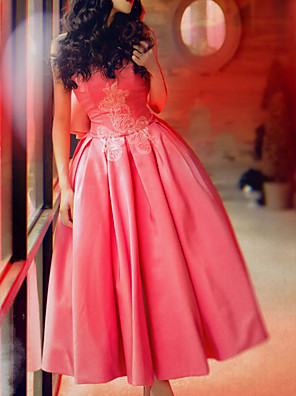 cheap Prom Dresses-Ball Gown Elegant Pink Engagement Prom Dress Sweetheart Neckline Sleeveless Ankle Length Polyester with Bow(s) Pleats 2020