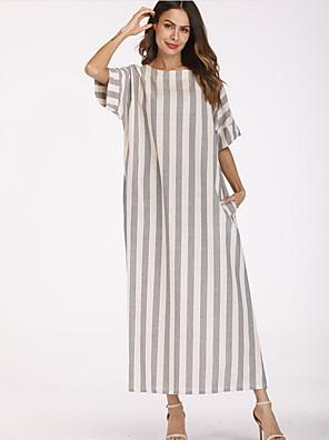 cheap Evening Dresses-Women's Maxi Shift Dress - Short Sleeves Striped Loose Gray M L XL XXL XXXL XXXXL XXXXXL