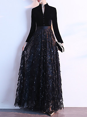 cheap Prom Dresses-A-Line Glittering Prom Formal Evening Dress High Neck Long Sleeve Floor Length Sequined Velvet with Buttons Sequin 2020