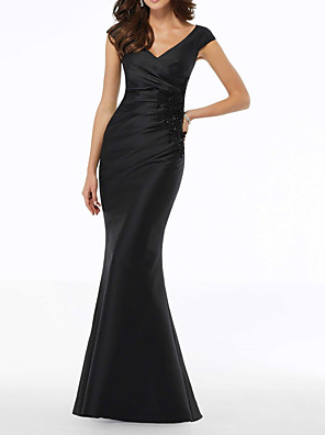 cheap Evening Dresses-Mermaid / Trumpet Elegant Black Wedding Guest Formal Evening Dress V Neck Sleeveless Floor Length Polyester with Draping Appliques 2020