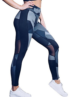 cheap Leggings-Women's Basic Legging Color Block Print Mid Waist Blue S M L / Slim