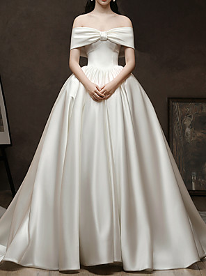 cheap Wedding Dresses-Ball Gown Wedding Dresses Off Shoulder Watteau Train Satin Short Sleeve Simple Elegant with 2020