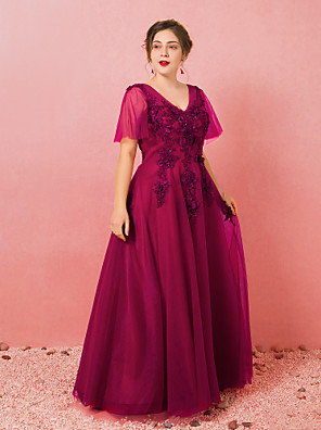 cheap Prom Dresses-A-Line Plus Size Engagement Formal Evening Dress V Neck Half Sleeve Floor Length Lace Satin Tulle with Appliques 2020