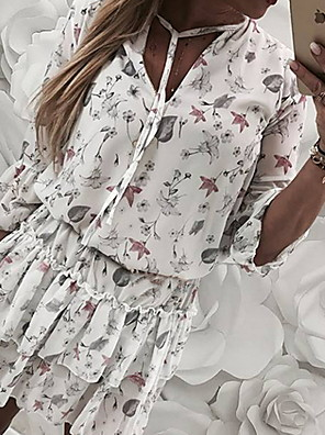 cheap Print Dresses-Women's Loose Dress - Half Sleeve Print Deep V Loose White Gray S M L XL