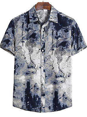 cheap Men's Shirts-Men's Daily Shirt Geometric Short Sleeve Tops Linen Classic Collar Blue