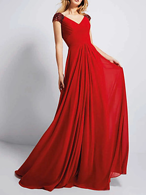cheap Evening Dresses-A-Line Elegant Red Engagement Formal Evening Dress V Neck Sleeveless Sweep / Brush Train Chiffon with Crystals Sequin 2020