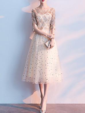 cheap Prom Dresses-A-Line Elegant Glittering Graduation Prom Dress Jewel Neck Half Sleeve Tea Length Tulle Sequined with Sequin Tassel 2020