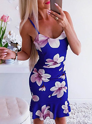 cheap Women's Dresses-Women's Skater Dress - Sleeveless Floral Print Strap Basic Blue Blushing Pink S M L XL