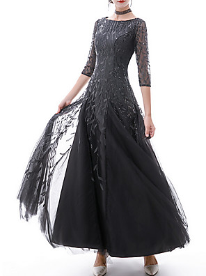 cheap Prom Dresses-A-Line Sparkle Black Prom Formal Evening Dress Jewel Neck Half Sleeve Floor Length Polyester with Appliques 2020