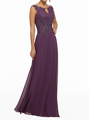 cheap Evening Dresses-Sheath / Column Elegant Purple Wedding Guest Formal Evening Dress Jewel Neck Sleeveless Floor Length Chiffon with Beading Appliques 2020