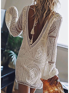 cheap Mini Dresses-Women's Mini Shift Dress - Long Sleeve Solid Color Lace Backless Summer Deep V Sexy Vacation Beach White Red Blushing Pink Royal Blue S M L XL XXL