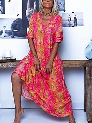 cheap Prom Dresses-Women's Maxi A Line Dress - 3/4 Length Sleeve Print Floral Spring Summer V Neck Boho Maxi Dress Loose Blue Red Fuchsia M L XL XXL XXXL