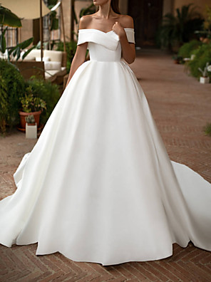 cheap Wedding Dresses-A-Line Wedding Dresses Off Shoulder Court Train Polyester Sleeveless Casual Plus Size with Draping 2020