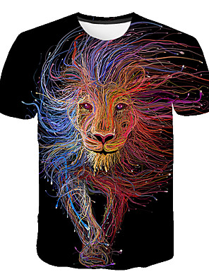 cheap Boys' Tops-Kids Boys' Basic Street chic Lion Color Block 3D Rainbow Print Short Sleeve Tee Rainbow