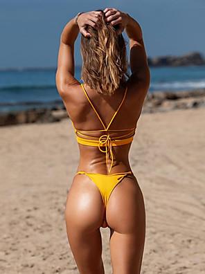 cheap Tankinis-Women's Basic Boho Black Yellow Bikini Swimwear Swimsuit - Solid Colored Lace up S M L Black