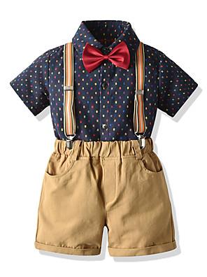 cheap Boys' Clothing Sets-Kids Boys' Basic Birthday Party Party & Evening Polka Dot Short Sleeve Regular Regular Clothing Set Black