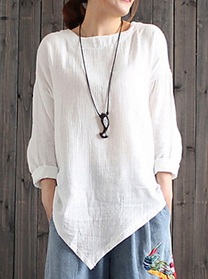 cheap Oversize Sweater-Women's Blouse Solid Colored Loose Tops White Black Blue / Long Sleeve