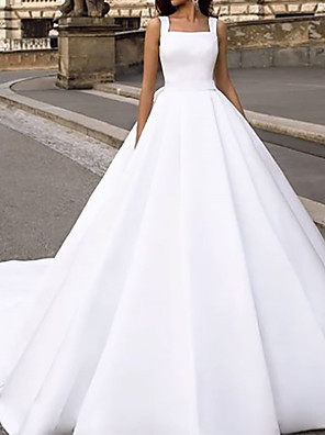 cheap Wedding Slips-Ball Gown Wedding Dresses Square Neck Court Train Chiffon Over Satin Cap Sleeve Country with Bow(s) Draping 2020