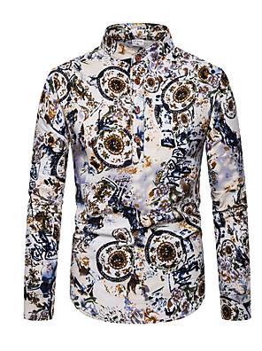 cheap Men's Shirts-Men's Daily Shirt Geometric Color Block Long Sleeve Tops Basic Rainbow