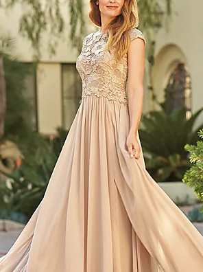 cheap Prom Dresses-Sheath / Column Mother of the Bride Dress Elegant Jewel Neck Sweep / Brush Train Chiffon Lace Short Sleeve with Appliques Ruching 2020