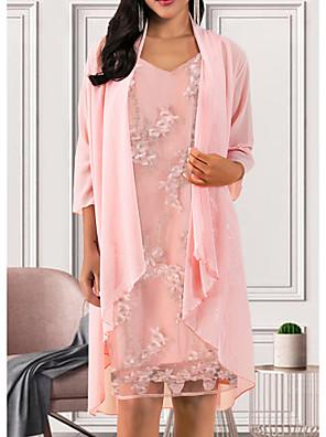 cheap Women's Dresses-Women's A Line Dress - 3/4 Length Sleeve Solid Colored V Neck Elegant Blushing Pink M L XL XXL XXXL