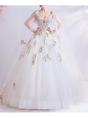 cheap Evening Dresses-Ball Gown Wedding Dresses V Neck Court Train Chiffon Tulle Cap Sleeve Formal Illusion Detail Plus Size with Draping Lace Insert Appliques 2020
