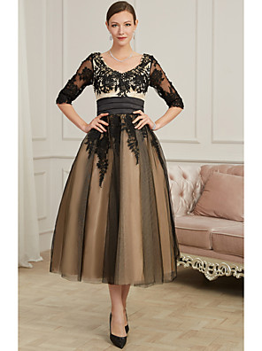 cheap Prom Dresses-A-Line Sexy Black Cocktail Party Prom Dress V Neck 3/4 Length Sleeve Ankle Length Polyester with Appliques 2020