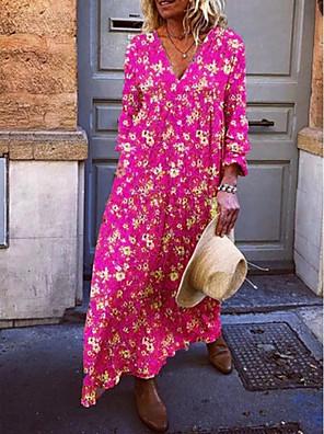 cheap Evening Dresses-Women's Maxi A Line Dress - Long Sleeve Floral V Neck Vacation Beach Loose Yellow Fuchsia Light Blue S M L XL XXL XXXL XXXXL XXXXXL