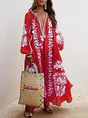 cheap Romantic Lace Dresses-Women's Shift Dress Maxi long Dress - Long Sleeve Geometric Deep V Loose Blue Red Yellow Khaki S M L XL XXL XXXL