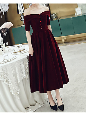 cheap Prom Dresses-A-Line Minimalist Red Wedding Guest Cocktail Party Dress Off Shoulder Short Sleeve Tea Length Velvet with Buttons 2020