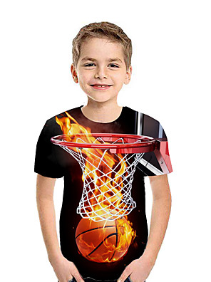 cheap Prom Dresses-Kids Boys' Active Street chic Geometric 3D Patchwork Print Short Sleeve Tee Rainbow
