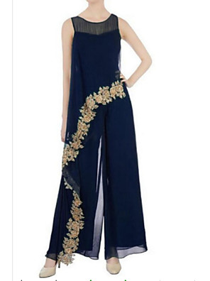 cheap Free Shipping-Pantsuit / Jumpsuit Mother of the Bride Dress Elegant Jewel Neck Floor Length Chiffon Sleeveless with Appliques 2020