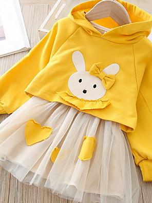 cheap Girls' Dresses-Kids Girls' Basic Color Block Long Sleeve Clothing Set Yellow