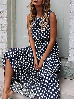 cheap Vintage Dresses-Women's Maxi Swing Dress - Sleeveless Polka Dot Spring & Summer Elegant Slim 2020 Black Yellow Navy Blue Khaki Green S M L XL XXL