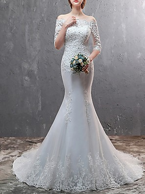 cheap Wedding Dresses-Mermaid / Trumpet Wedding Dresses Off Shoulder Sweep / Brush Train Lace Half Sleeve Beach Illusion Sleeve with Lace Insert Embroidery 2020